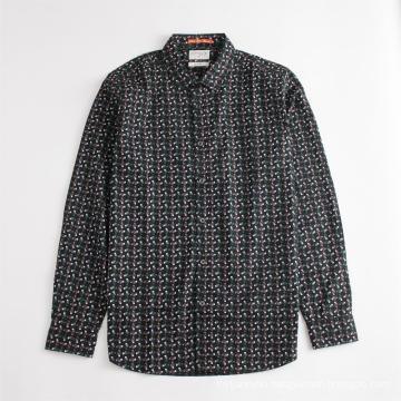 Cotton Long Sleeve Regular Chic Print Men's Shirt