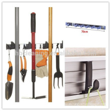Soporte de organizador de pared de 6 posiciones de aluminio, fregona y escoba con 5 ganchos