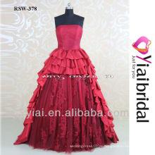 RSW378 Rotwein Kurzes Vorderes Langes Ruckseitiges Hochzeitskleid Hochzeitskleid