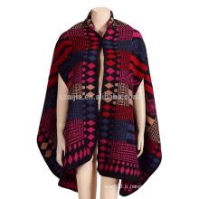 Mode femmes Jacquard manteau poncho d'hiver tribal