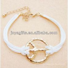 Cordón de cuero blanco con pulsera de aleación de paz