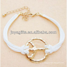 White leather cord with peace alloy bracelet