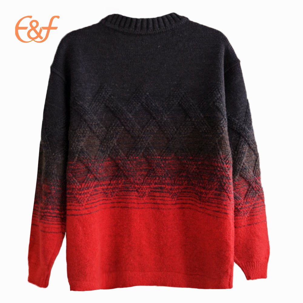 Gradient Color Cable Heavy Gauge Winter Sweater