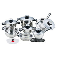 16 Pieces Stainless Steel Wide Edge Cookware Set