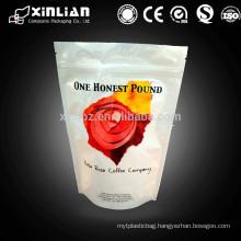 coffee bag /al foil standing zipper bag with valve