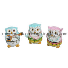 Handing Sculpture Painting Owl Mechanical Kitchen Timer