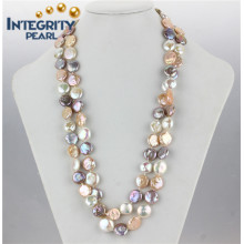 "Freshwater 12-13mm Coin 48"" Long Necklace Multi Natural Color Pearl Necklace"