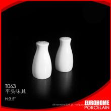 novas chegadas design agradável branca fina cerâmica sal pimenteiro