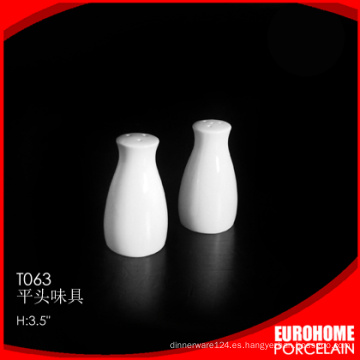 nuevas llegadas diseño agradable blanco fina cerámica sal pimentero