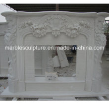 Hot Selling High Quality White Marble Fireplace Surround Flowers (SY-MF149)