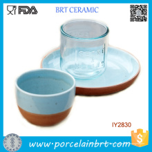 Attraktive Ocean Blue Keramik Tasse und Teller Set Dinner Set