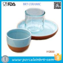 Copo de cerâmica atraente oceano azul e conjunto de jantar de placa