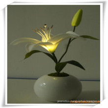 Small Lily LED Artificial Flowers with Ceramics Pot for Promotion
