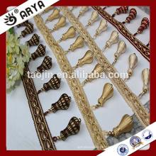 Stock produtos franja de madeira, franja de cortina, franja de borla de cortina