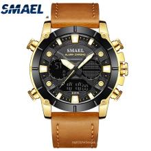 Relógio SMAEL New Fashion Masculino com pulseira de couro de quartzo