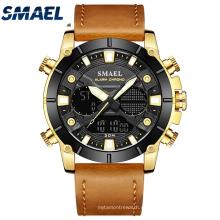 SMAEL Новые модные мужские часы с кожаным ремешком из кварца