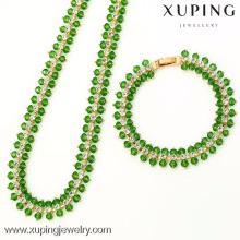 62774-Xuping Jewelry Fashion Banhado a Ouro 18K com Neckalce e Pulseira