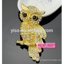Broche de coruja de cristal de ouro 18K