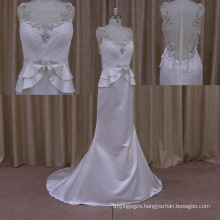 2015 Sexy Cap Sleeves Beadedwedding Dress
