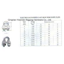 E. Galvanized Cast Iron Wire Rope Clips