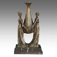 Estatua de la decoración del florero señoras que talla la escultura de bronce TPE-528