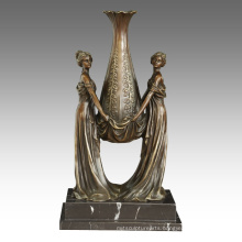 Vase Decoration Statue Ladies Carving Bronze Sculpture TPE-528