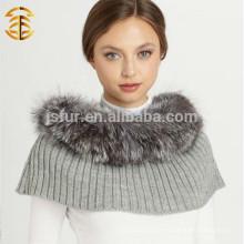 Hochwertige Dame Winter echtes Silber Fox Pelz Trimm Wolle gestrickte Schal Schal