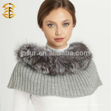 Высокое качество Lady's зима Подлинная серебряная лисица Fur Trim Шерсть Трикотажная платка Шарф