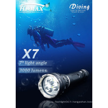 Profession de plongée profonde 3x Cree LED super lumineuse magnétique sous-marine plongée lumières