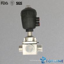 Válvula de esfera pneumática três vias sanitárias de aço inoxidável