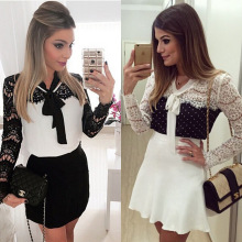 New Style Hot Classy European Lace White Splicing Dresses for Women