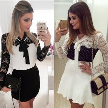 Новый стиль Hot Classy Европейский кружева Белый сплайсинга платья для женщин
