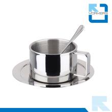 3 piezas 304 acero inoxidable tipo de metal taza de café conjunto