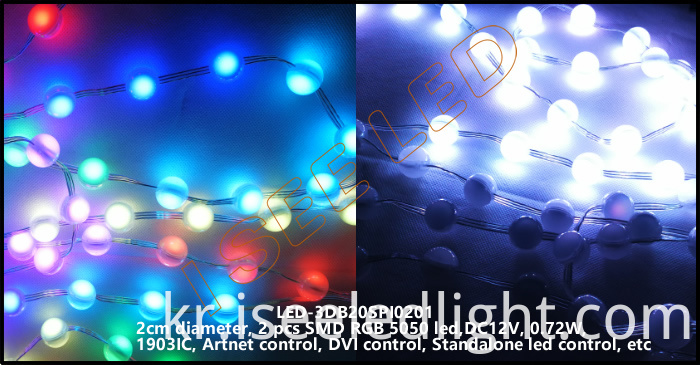 2cm 3D led ball rgb SPI1903 2 led 3D led bead light