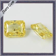 Clear Light Yellow Brilliant Octagon Princess Cut CZ Stone