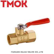 Top Red handle natural color internal thread brass gas valve