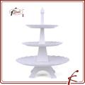 Distintivo modelo Eiffel Soporte de pastel de 3 capas de porcelana duradera