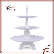 Distintivo Eiffel modelagem durável porcelana 3-camada bolo Stand