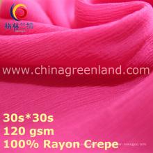 Tecido a granel sólido de crepe de rayon para blusa de gasolina t-shirt (GLLML438)