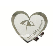 Heart golf divot hat clips / Stamped metal magnetic hat clips