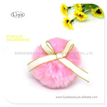Makeup Tool Round Plush Puff With Yellow Strip