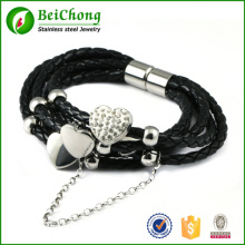 Men Fashion Charm Bracelet Black Genuine Leather Silver Heart With Rhinestone Stainless Steel Bracelet Bangles