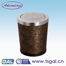 Black trash can with lid
