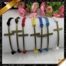 Sideway Cross Beads Bracelet, Newest Leather Bracelet for Women (FB057)