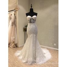 Elfenbein Spitze Mermaid Braut Weddin Kleid