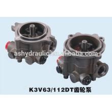 Serie de Kawasaki K3V de K3V63DT, K3V112DT, bomba de engranaje de carga hidráulica K3V140DT