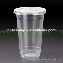 Tasse jetable en plastique claire claire du plastique 17oz de vente chaude avec le couvercle en plastique