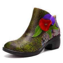 Fashion ethnic retro women's boots stitching process comfortable head layer women's boots