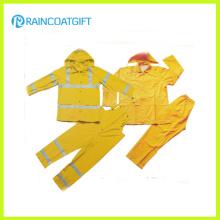 Rainsuit de los hombres reflectantes del poliester del PVC 2PCS (Rvc-112)