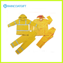 Reflective 2PCS PVC Polyester Men′s Rainsuit (Rvc-112)